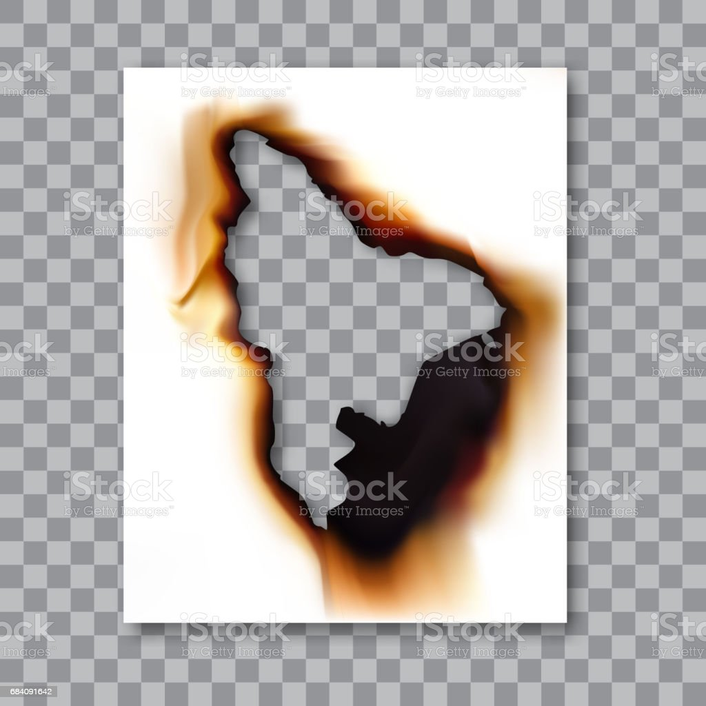 Burnt sheet of paper with ash. Damage edge and destroyed sheet. On transparent background vector illustration. vector art illustration