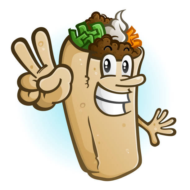 burrito cartoon character hält ein friedenszeichen - chimichanga stock-grafiken, -clipart, -cartoons und -symbole