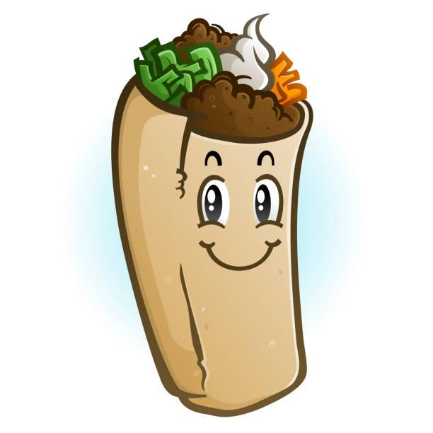 burrito cartoon charaktervekord-illustration - chimichanga stock-grafiken, -clipart, -cartoons und -symbole