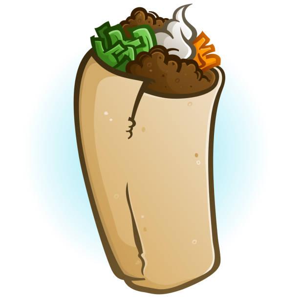 burrito cartoon vector illustration - chimichanga stock-grafiken, -clipart, -cartoons und -symbole