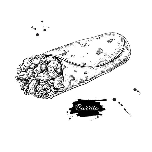 burrito zeichnen. traditionelle mexikanische küche-vektor-illustration - tortillas stock-grafiken, -clipart, -cartoons und -symbole