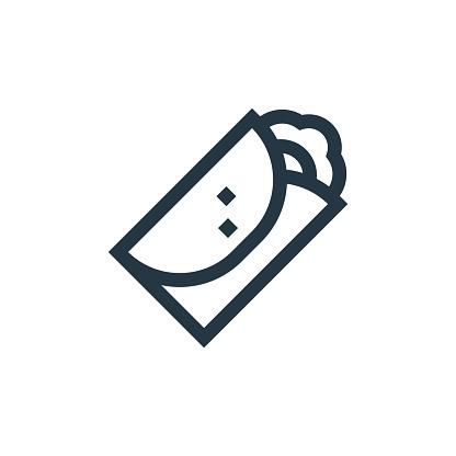 burrito icon vector from cinco de mayo concept. Thin line illustration of burrito editable stroke. burrito linear sign for use on web and mobile apps, logo, print media..