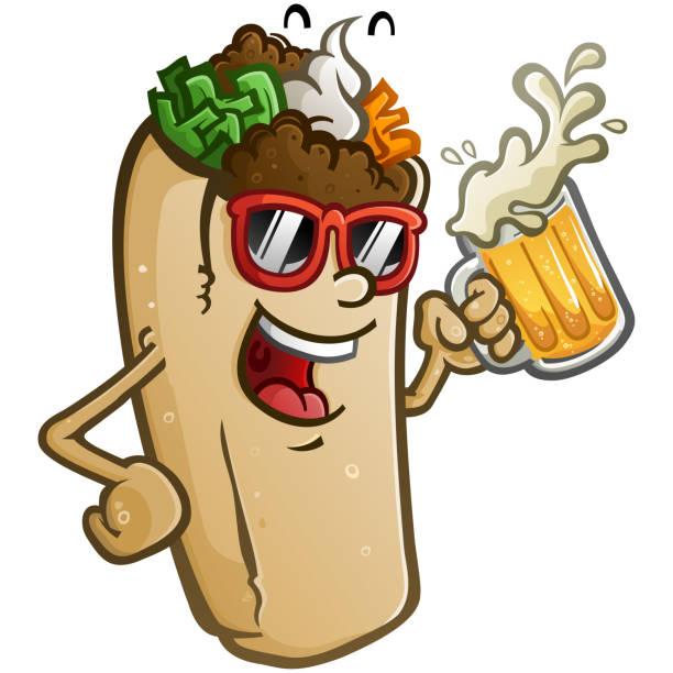 burrito vektor cartoon trinken eine große kalte becher bier - chimichanga stock-grafiken, -clipart, -cartoons und -symbole