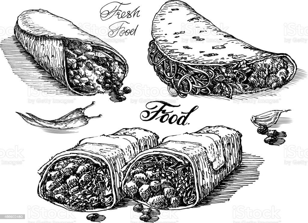 burritos vector logo design template. Mexican restaurant or fast food vector art illustration