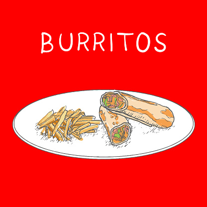Burritos with fried Potatoes Hand Drawn on White Background. Vector