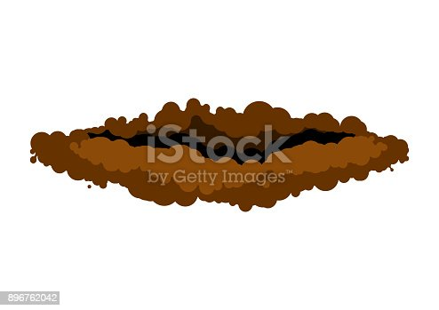 burrow in ground. den groundhog rodent on white background. Vector illustration