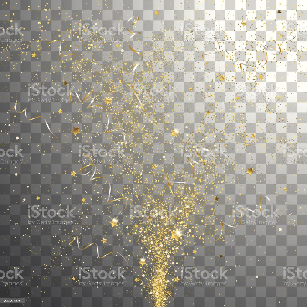 Burst Festive Gold Confetti vector art illustration