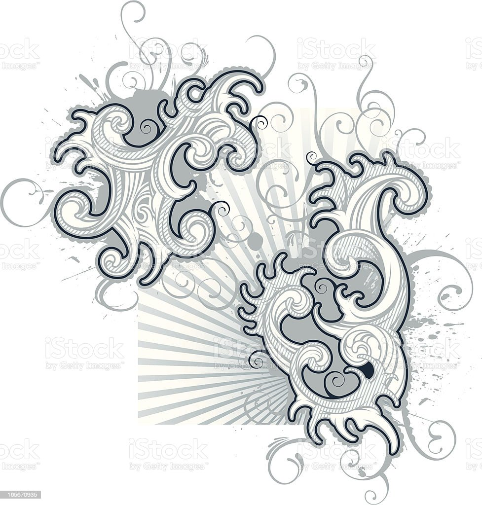burst of flourishes royalty-free stock vector art