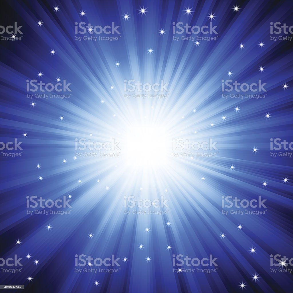 Burst of light with sparkles vector art illustration