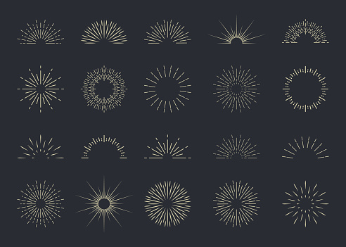 Burst of sun. Starburst with light ray. Sunburst with shine lines, sunshine. Hipster logo. Set of retro radial sparks. Simple hand drawn graphic icons. Vintage badge, label. Abstract firework. Vector