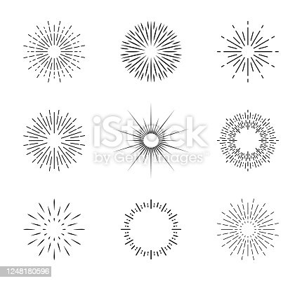 istock Burst of sun. Vintage sunburst with sparks. Circles with lines. Shine of star rays. Starburst icons and radial sunbeam. Light sunrise or sunset in linear style. Retro sunshine illustration. Vector 1248180596