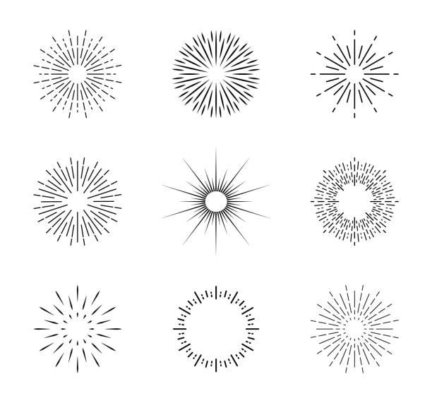 bildbanksillustrationer, clip art samt tecknat material och ikoner med solexplosion. vintage solstråle med gnistor. cirklar med linjer. glans av stjärnstrålar. starburst ikoner och radiell solstråle. ljus soluppgång eller solnedgång i linjär stil. retro solsken illustration. vektor - hand tänder ett ljus