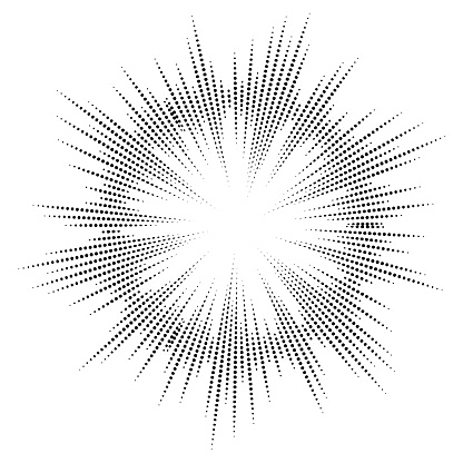 Bursting rays. Sunburst frame. Abstract equalizer element with dotted lines for design. Vector illustration.