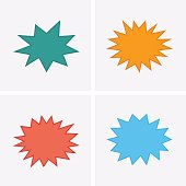 Bursting speech star set, starburst speech bubbles