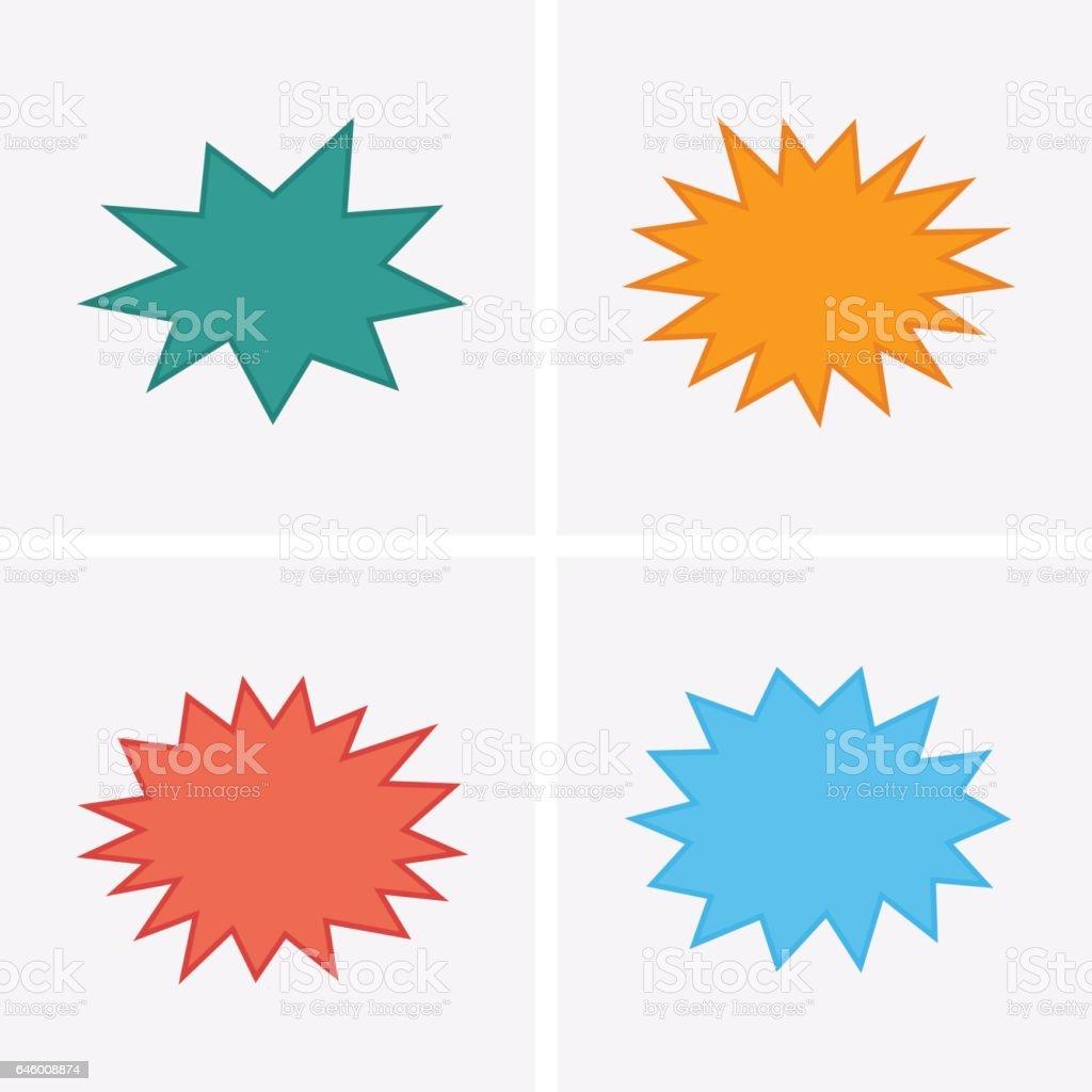 Bursting speech star set, starburst speech bubbles vector art illustration