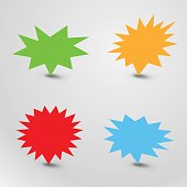 Bursting speech star set, starburst speech bubbles with shadow