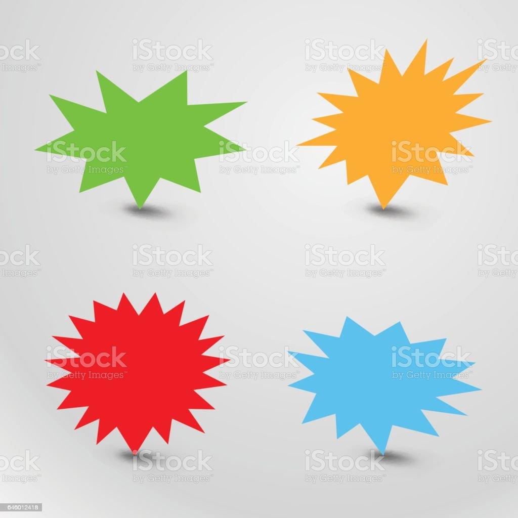 Bursting speech star set, starburst speech bubbles with shadow vector art illustration