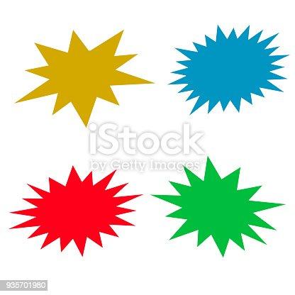 Bursting speech star set, vector illustration