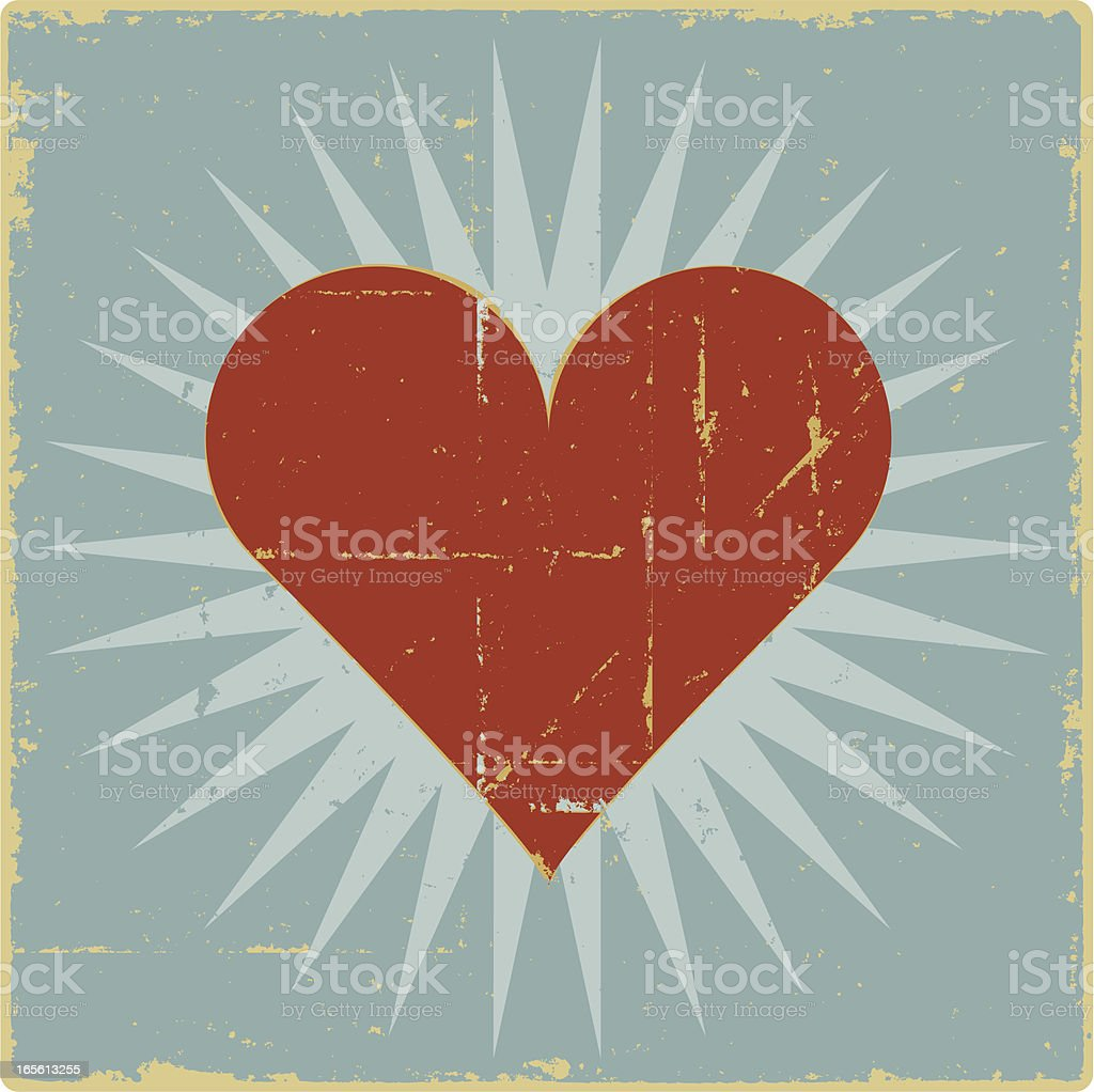 Bursting with Love Heart vector art illustration