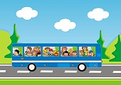 bus and children, road trip, vector icon, color picture