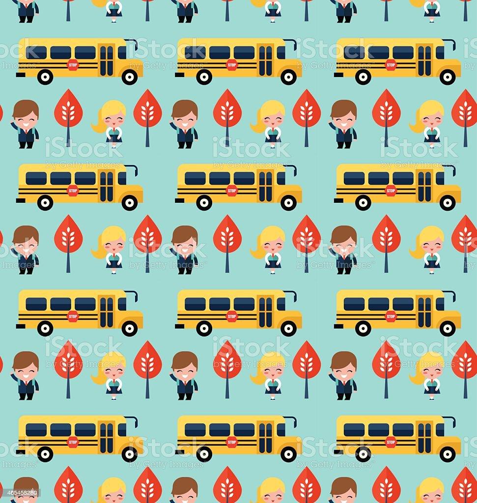 バスと学校の子供模様 - 2015年...