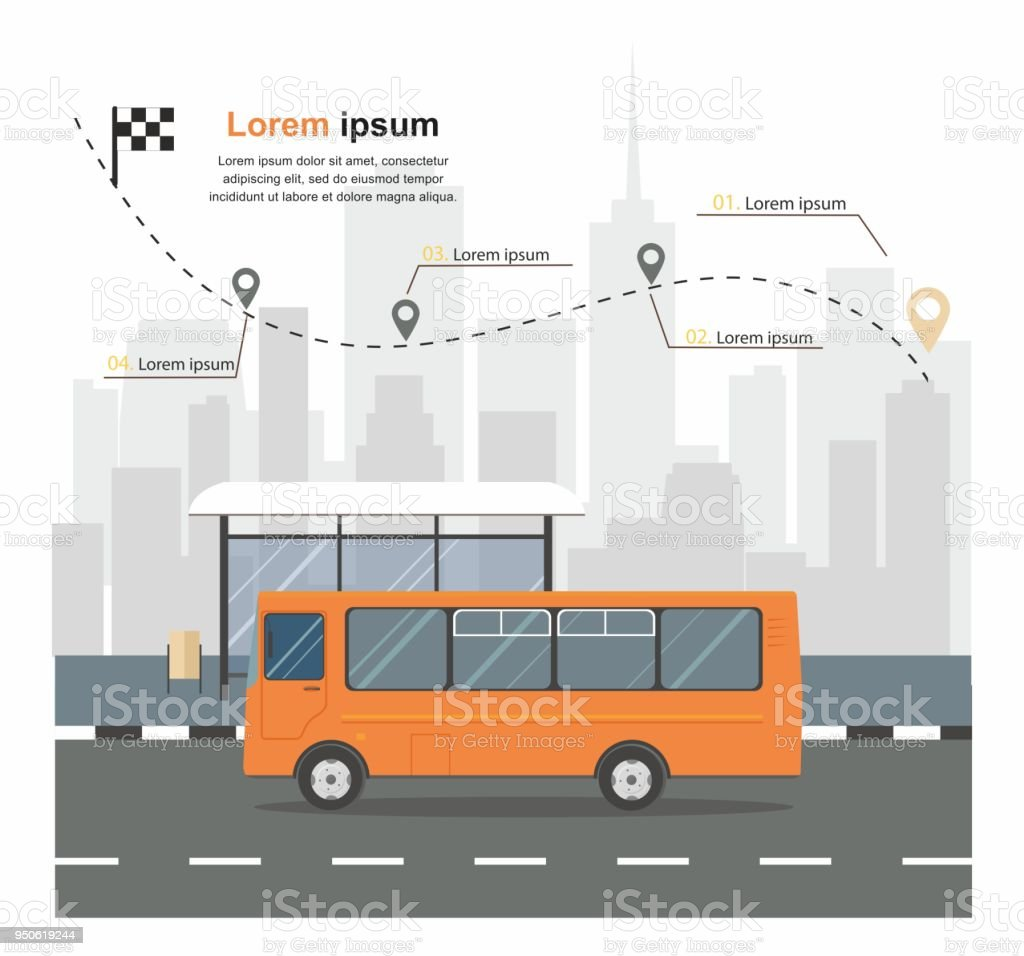 bus at the bus stop on background of city transporation infographic