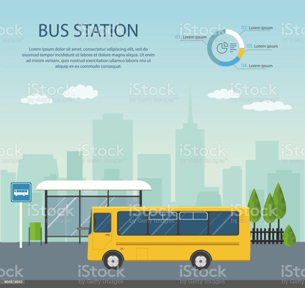 Bus à l'arrêt de bus sur fond de ville. - Illustration vectorielle