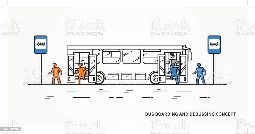 Bus boarding and debussing vector illustration - illustrazione arte vettoriale