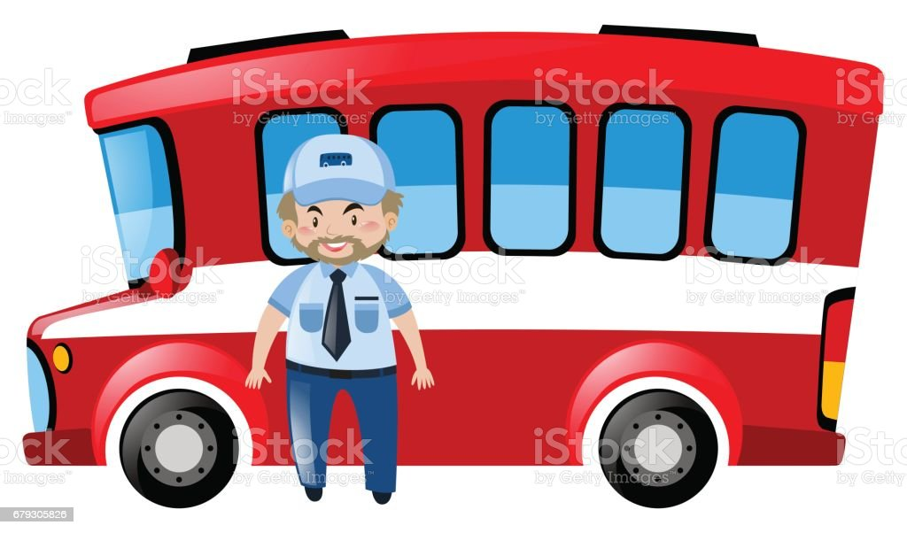 Bus driver and red bus vector art illustration