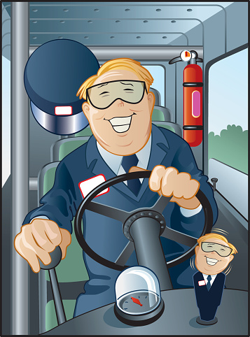 Bus Driver Happy And Jolly Stock Illustration - Download Image Now