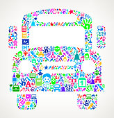 Bus education & school royalty free vector art Pattern