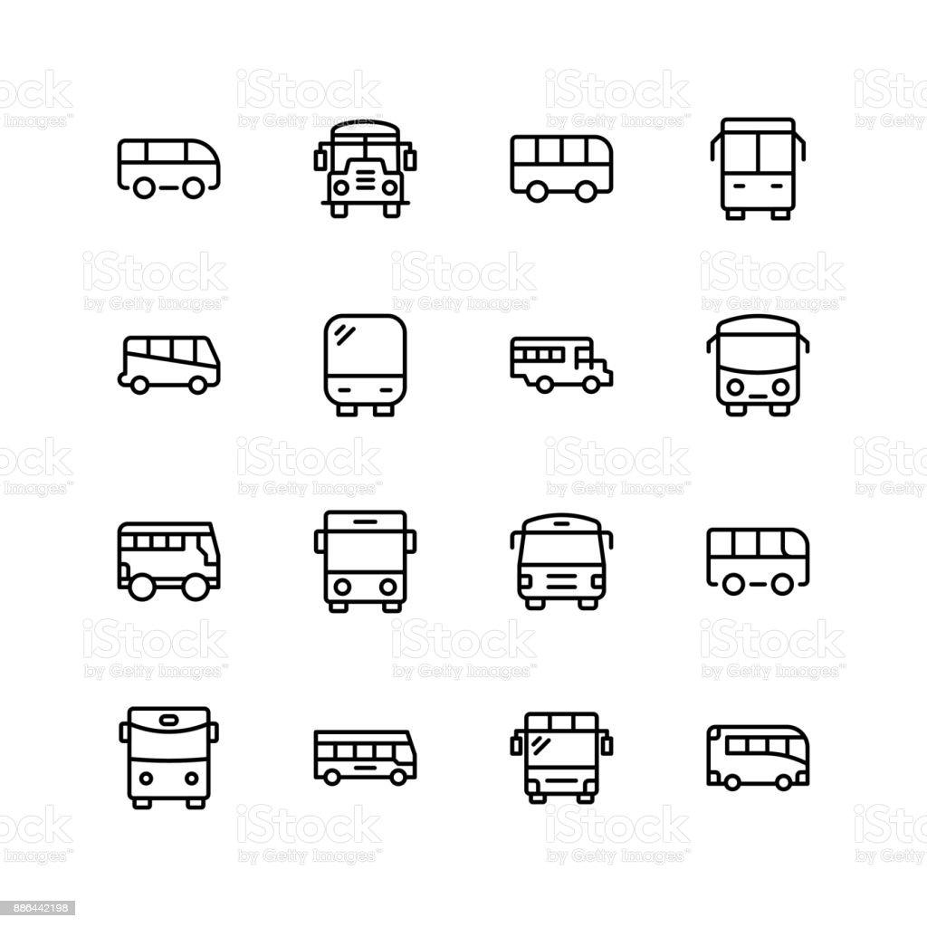 Icono plana de Bus - ilustración de arte vectorial