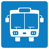 Bus front view sign icon