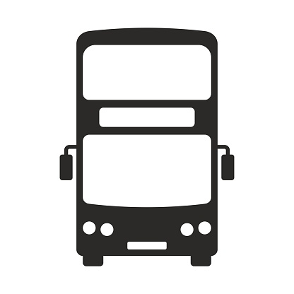 Bus icon. Double decker bus. Two floor bus. Travel. Tourism.