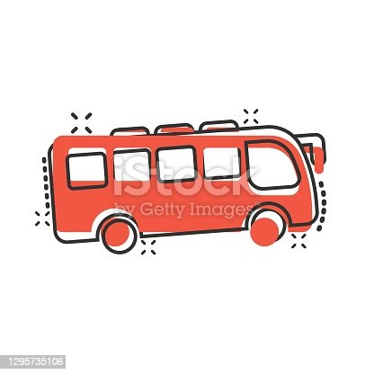 istock Bus icon in comic style. Coach cartoon vector illustration on white isolated background. Autobus vehicle splash effect business concept. 1295735106