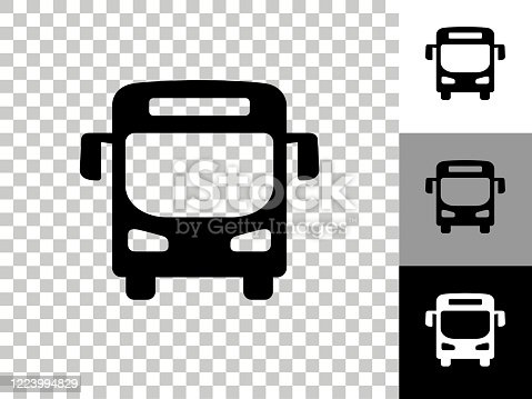 istock Bus Icon on Checkerboard Transparent Background 1223994829