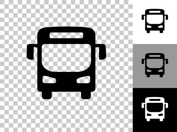 Bus Icon on Checkerboard Transparent Background vector art illustration