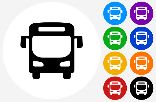 Bus Icon on Flat Color Circle Buttons. This 100% royalty free vector illustration features the main icon pictured in black inside a white circle. The alternative color options in blue, green, yellow, red, purple, indigo, orange and black are on the right of the icon and are arranged in two vertical columns.