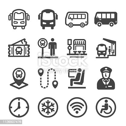 bus icon set,vector and illustration