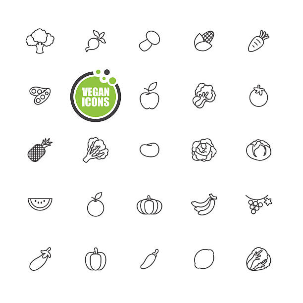 bus icon set - lettuce stock illustrations