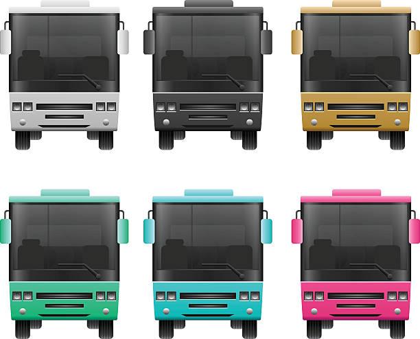 illustrazioni stock, clip art, cartoni animati e icone di tendenza di set di icona di autobus - subway