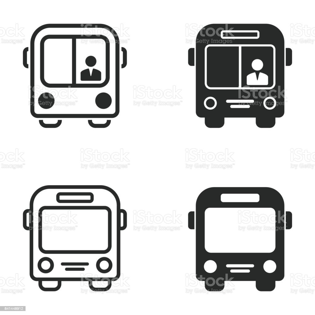Bus icon set. - illustrazione arte vettoriale