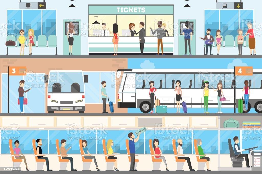 Bus-Bühnenbild. – Vektorgrafik