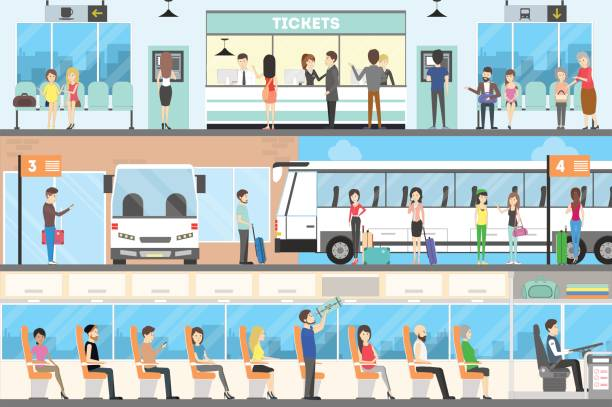Bus interior set. Bus interior set. Seat in the bus, bus stop and buying tickets. passenger stock illustrations