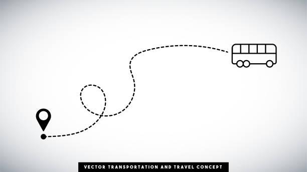 buslinienpfadvektor-design. transport- und reisekonzept. - tour bus stock-grafiken, -clipart, -cartoons und -symbole
