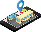 Bus Locator App on phone Icon.