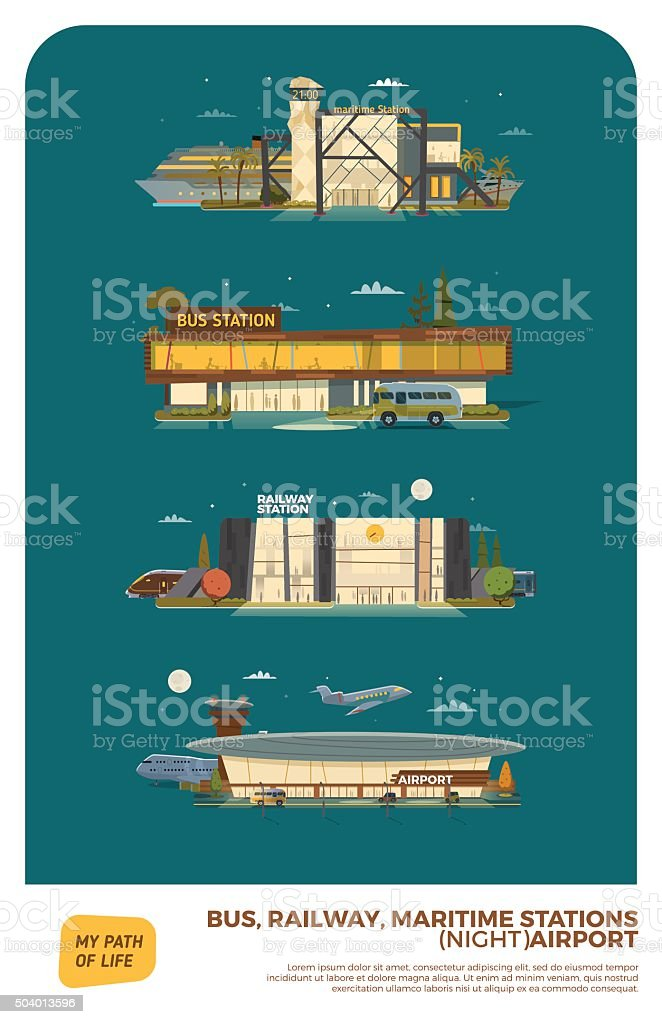 Bus, maritime, railway stations and airport. vector art illustration