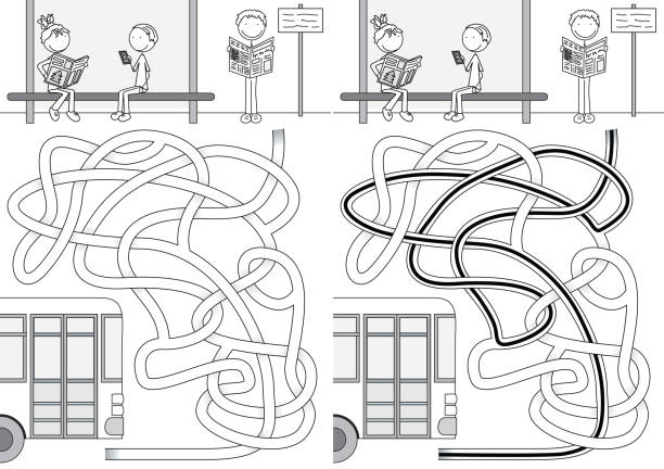 Labirinto de ônibus - ilustração de arte em vetor