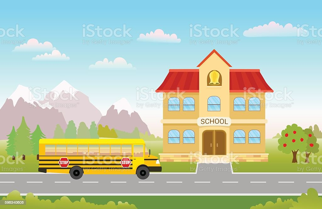 bus on road to school royalty-free bus on road to school stock vector art & more images of architecture