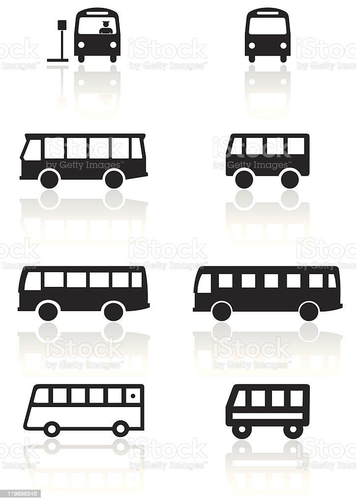 Bus or van symbol vector illustration set. vector art illustration